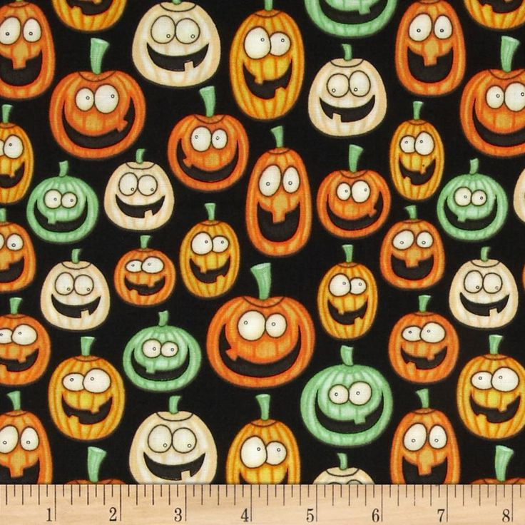 A Haunting We Will Go Jack O Laterns Black from @fabricdotcom  Designed by Dan Morris for RJR Fabrics, this cotton print fabric is perfect for quilting, apparel and home decor accents. Colors include orange, lime and black.