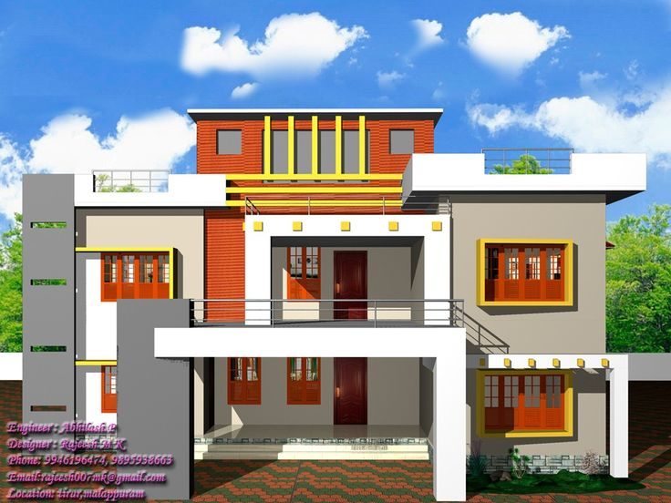13 awesome simple exterior house designs in kerala image for Exterior colour design of house