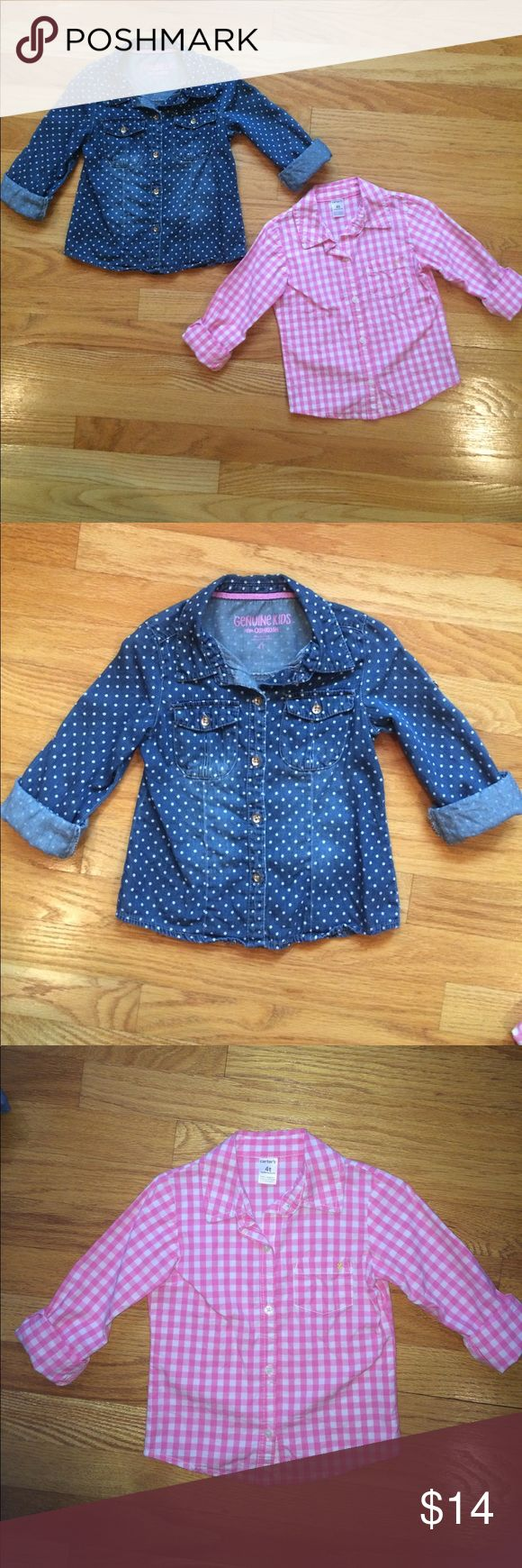 Girls Size 4T Button Up Shirts Carter's Oshkosh 2 Girls Button Up Shirts.  Size 4T.  Pink/White Checkered Shirt is Carter's.  Blue Denim Polka Dot Shirt is Genuine Kids from Oshkosh.  Both Shirts have 3/4 Length Sleeves.  Both Shirts are in Great Condition! Carter's Shirts & Tops Button Down Shirts