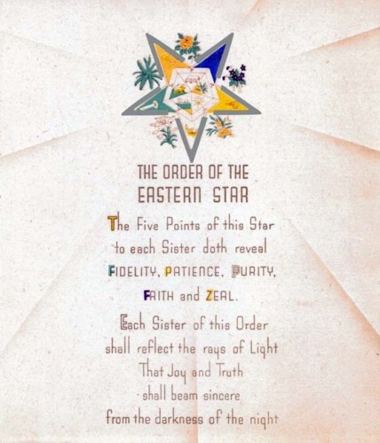 Antique Order of The Eastern Star Poem Print Ring Art Poster OES Masonic   eBay