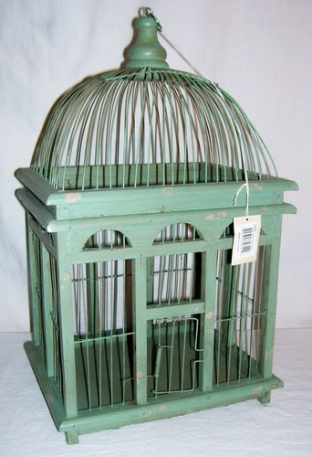 verdigris green wood wire decorative bird cage hang or stand ebay bird cages bird cage. Black Bedroom Furniture Sets. Home Design Ideas