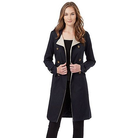 The Collection Petite Navy double breasted mac coat | Debenhams