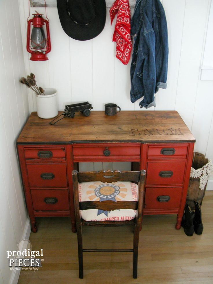 Farmhouse Rustic Red Desk by Prodigal Pieces | www.prodigalpieces.com