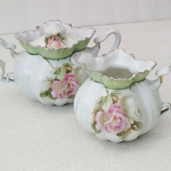 German Porcelain, Antique Creamer and Sugar, Pink Roses / Mint Green, early 1900's