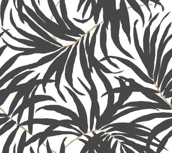 York Bali Tropical Matte Black And White Leaves Peel And Stick Wallpaper Bohemian Metallic Psw1029rl In 2021 Leaf Wallpaper Banana Leaf Wallpaper Stripped Wallpaper