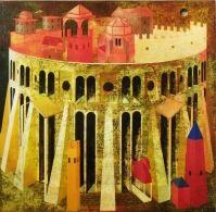 """A. Palazzini, """"La città ideale per Giotto"""", 2012, oil on canvas, cm 90 x 90"""