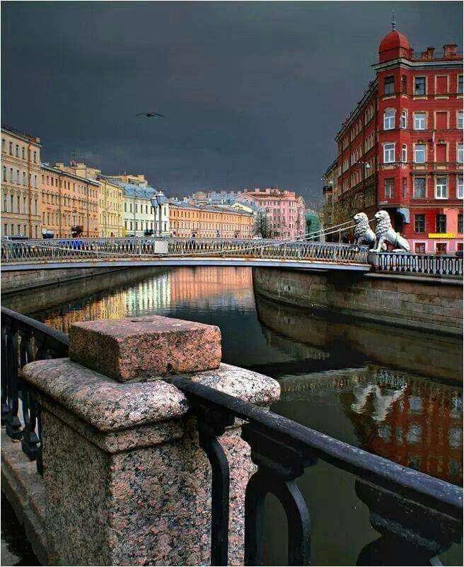 Lion's Bridge in St. Petersburg RUSSIA