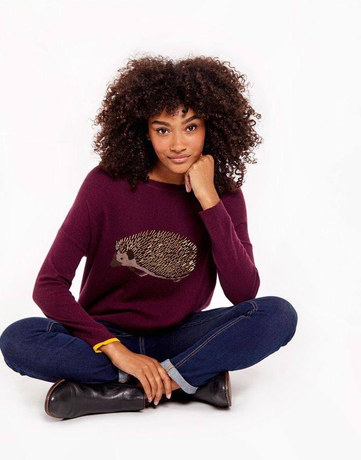 Meryl luxe Burgundy Hedgehog Dropped Shoulder Intarsia Sweater  | Joules US