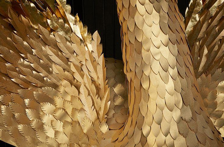 makerie studio handcrafts paper golden goose and gilded eggs