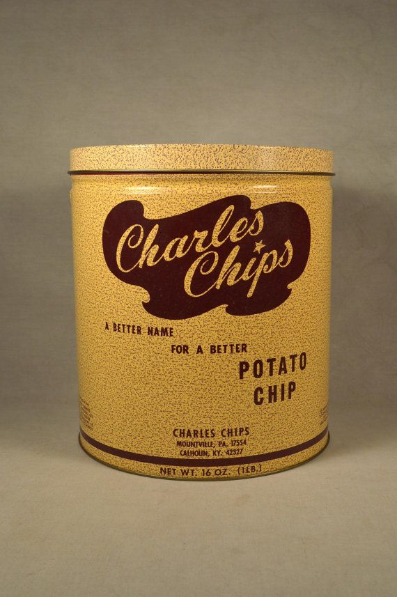 Vintage 1970s 1 Lb Charles Chips Potato Chips Tin, Excellent. My dad kept birdseed in one of these.