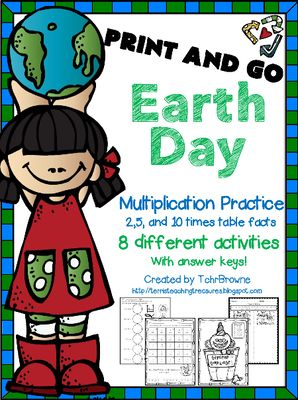 Earth Day Multiplication Print and Go from Terri'sTeachingTreasure on TeachersNotebook.com -  (14 pages)  - Earth Day is the perfect day to save on colored ink with these 8 print and go multiplication worksheets. Students can practice their 2, 5, & 10 times tables with these interactive worksheets.