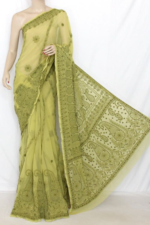 Menhdi Green Hand Embroidered Lucknowi Chikankari Saree Rich Border & Pallu (With Blouse - Georgette) 14319