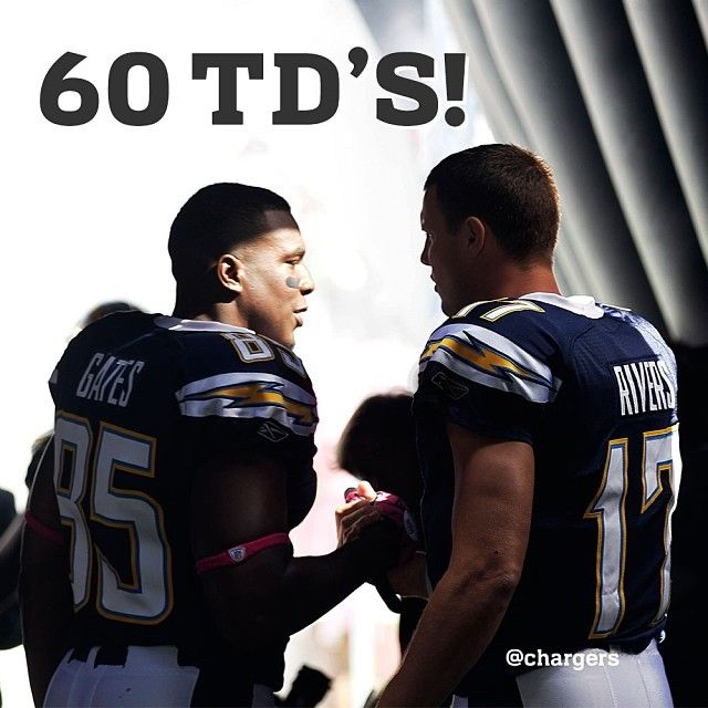Philip Rivers 60th touchdown pass to Antonio Gates - the most in NFL history for a QB-TE tandem. (12-29-13)