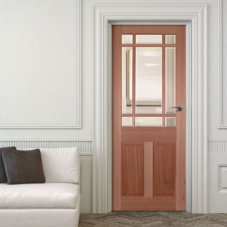 Downham Mahogany Door with Bevelled Clear Glass. #mahoganydoorwithglass #hardwooddoors #mahoganydoorwithglass