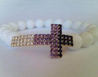 Witte Stretch armband, religieuze Gift, kruis armband, White Onyx kralen Kruis…