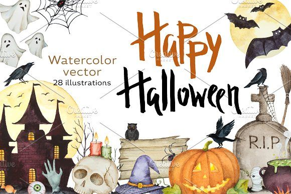 Happy Halloween. Watercolor. by Elena Medvedeva on @creativemarket