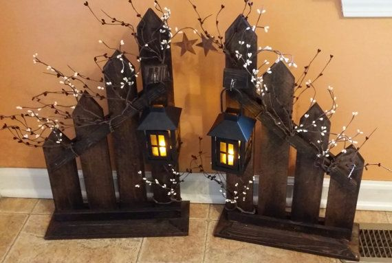 Primitive, lantern candle holder decor, Sold Individually, Rustic reclaimed picket fence candle holder lantern,   home decor, country decor
