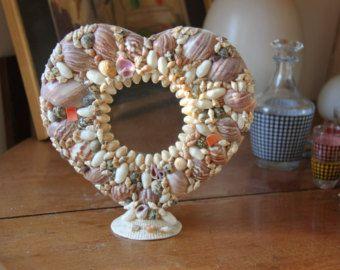 Magnifique cadre coeur photo ou miroir coquillage vintage