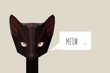 Low poly black cat vector