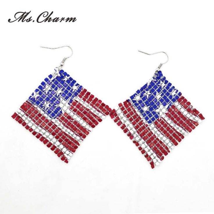 High Quality USA Flag Silver Plated Drop Earrings For Women