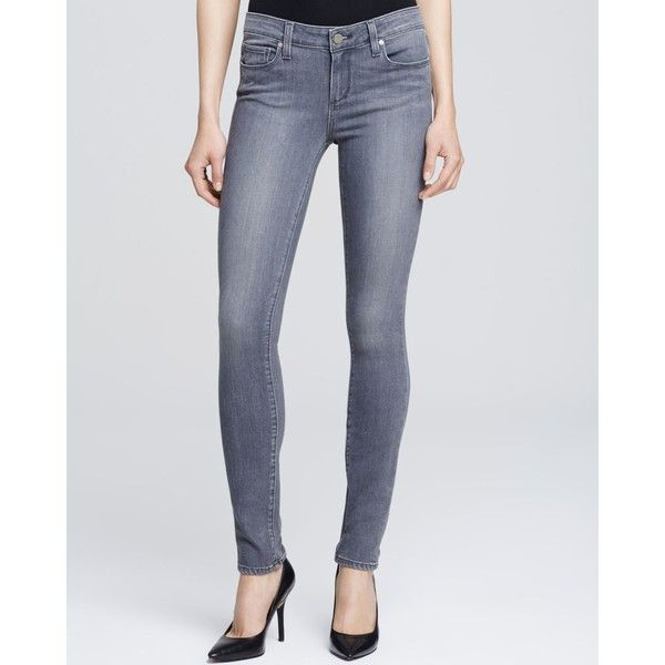 Paige Denim Silvie Transcend Verdugo Jeans in Light Grey ($189) ❤ liked on Polyvore featuring jeans, light grey, paige denim jeans, denim jeans, paige denim, stretchy jeans and light grey jeans