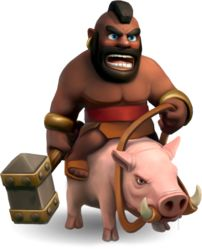 """Having tamed the fierce leaping hog, the Hog Rider punishes those who hide behind their puny walls! Fueled by Dark Elixir, these warriors have never known defeat!"""