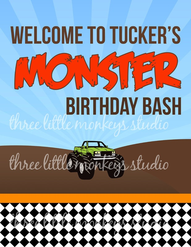 Monster Truck Monster Jam Custom Party by 3LittleMonkeysStudio, $35.00: Trucks Monsters, Birthday Bash, Parties, Monsters Jam, 7Th Bday, Christopher Birthday, Custom, Birthday Ideas, Monsters Trucks