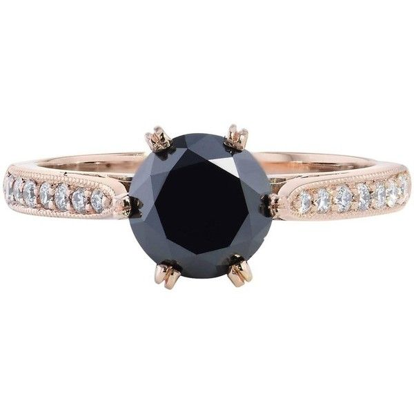 Preowned H & H 1.42 Black Diamond Engagement Ring ($3,390) ❤ liked on Polyvore featuring jewelry, rings, black, engagement rings, pre owned rings, 18k jewelry, black diamond jewelry and pre owned engagement rings