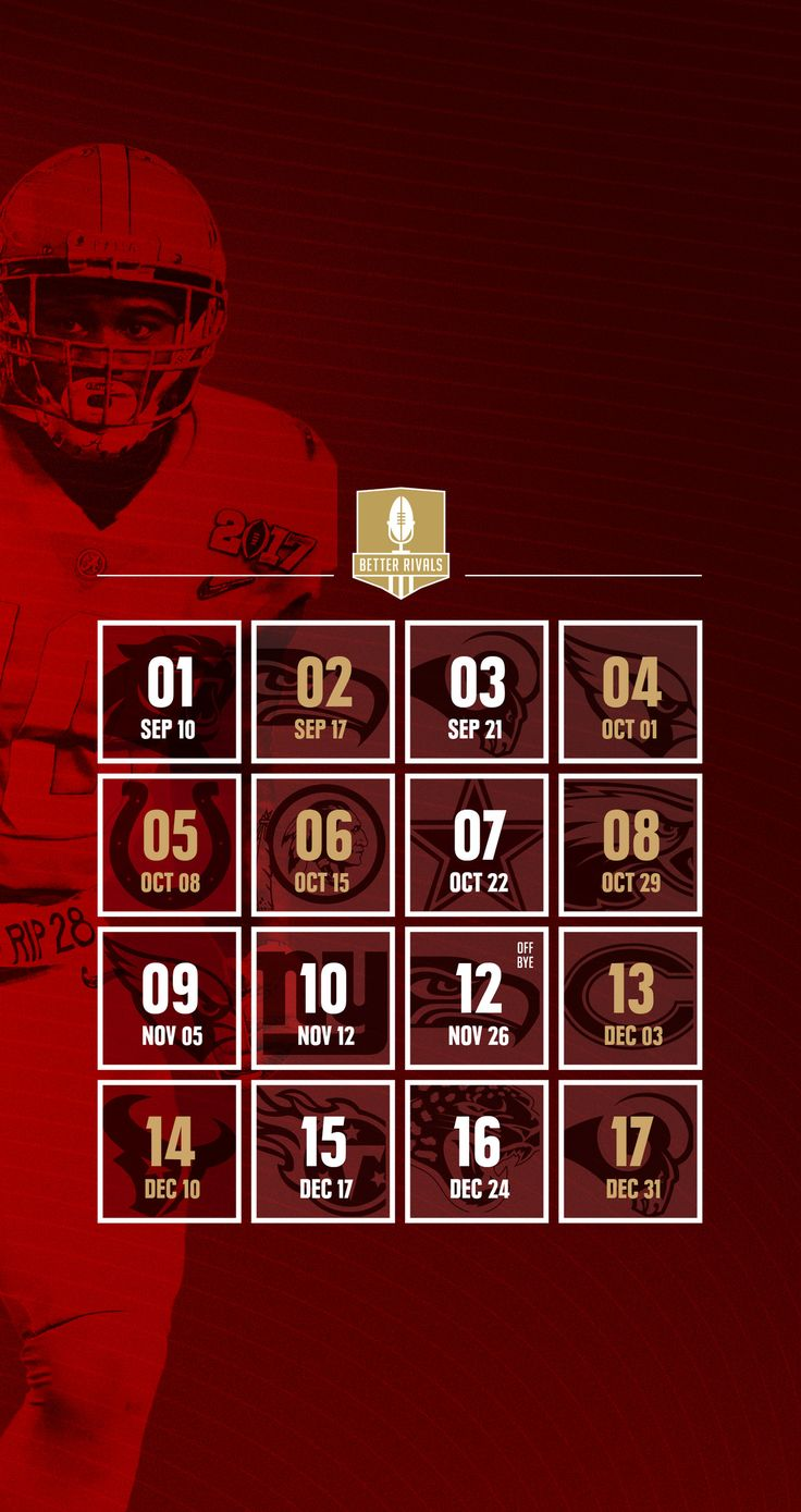 49ers 2017 schedule wallpapers for iPhone, Android, desktop - Niners Nationclockmenumore-arrowStubhub Logo : Get ready for the season by downloading the new 49ers schedule wallpapers for your desktop or mobile.