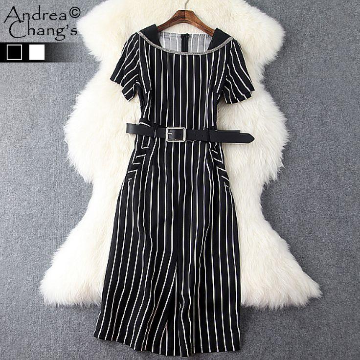 Купить Весна лето взлетно посадочной полосы дизайнер женские платья черный белый полосы шаблон с пояса до колен прямо мода работа платье брендаи другие товары категории Платьяв магазине Andrea Chang's storeнаAliExpress. Платья