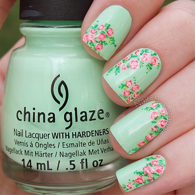 Mint and Pink Floral Nails