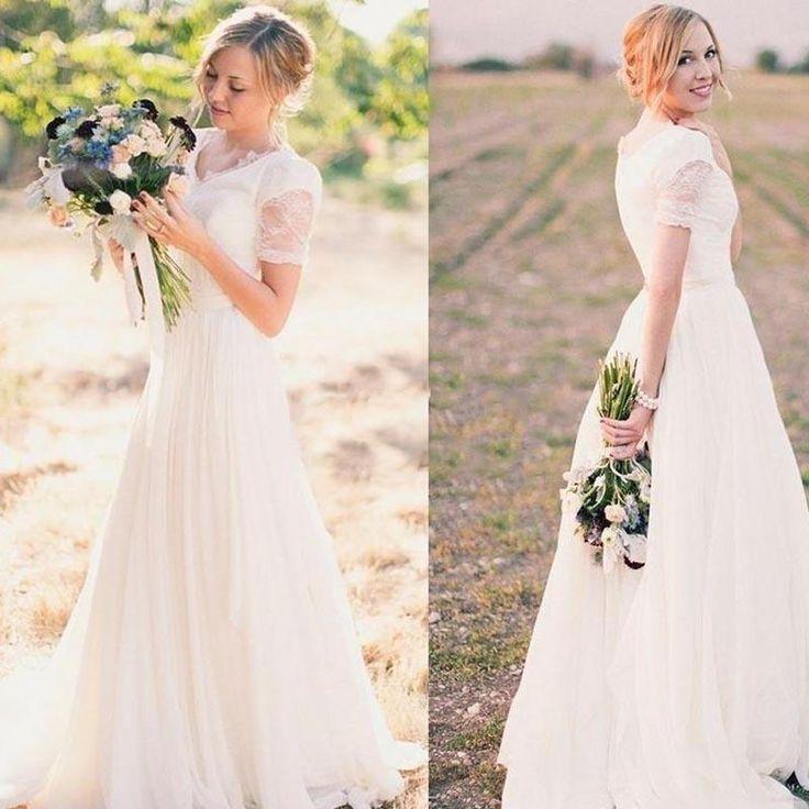 Short Sleeve Lace Chiffon Wedding Dresses, Country Wedding Dresses, Wedding Dresses, PD0371