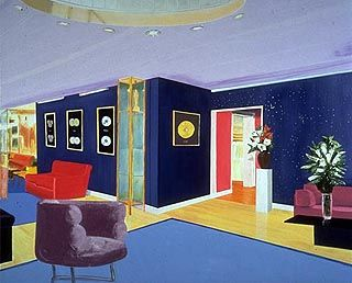 Paisley Park - Dexter Dalwood - and link to article about his work and opinions about function of art   http://www.telegraph.co.uk/culture/4718391/Pretty-peculiar.html