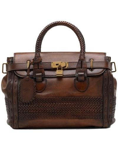 Gucci handmade large top handle bag dark brown - $339