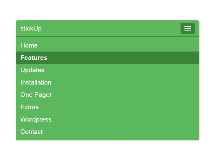 StickUp is a jQuery sticky menu navigation plugin, to create fixed top navigation on the web page.