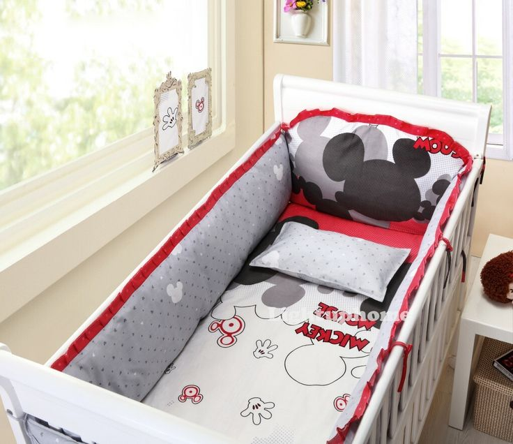 red and black mickey baby bedding | Red And White Mickey Mouse Crib Bedding-Cotton Bedding