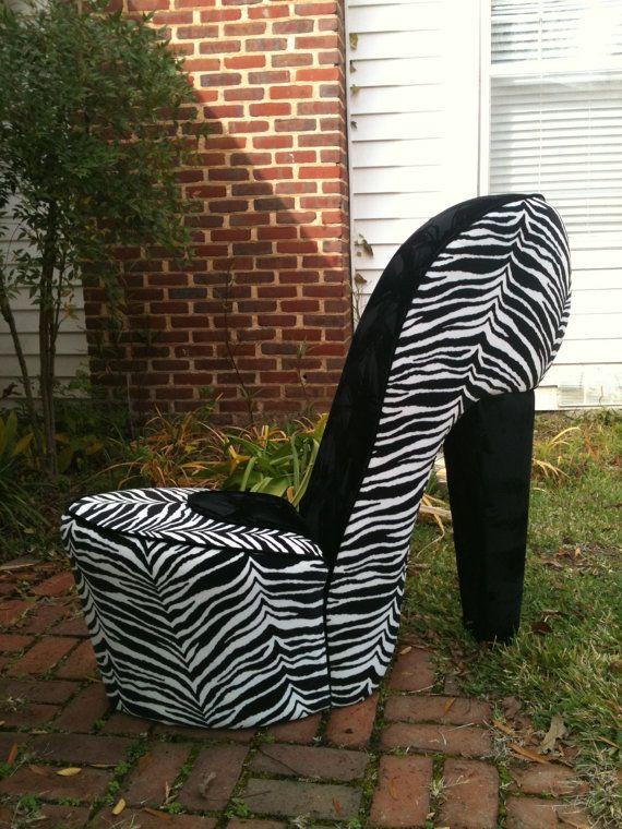 Handmade Zebra U0026 Black High Heel Shoe Chair