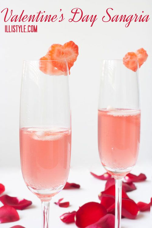 Valentine's Day Drinks.  I would make this non-alcoholic, but I like the strawberries cut out like hearts!