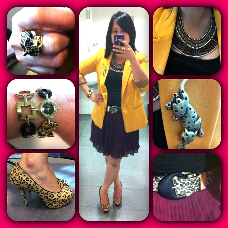Outfit and accessories today (06/03/2013). Playing with colours - Burgundy and Mustard (my skirt is Burgundy in colour as shown in bottom right side, it doesn't clearly reflected in the body shot). Black singlet - Temt. Burgundy pleated skirt - Kmart. Mustard blazer - Sussan. Leopard belt and shoes - ForeverNew. Necklace - Diva. Leopard brooch and ring - Lovisa. Bracelet Watch - Guess.