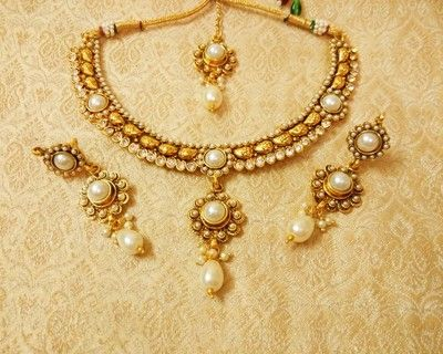 Lalso Preety White Delicate Necklace Set With Maang Tikka Ldn02 Mt Necklaces and Necklace Sets