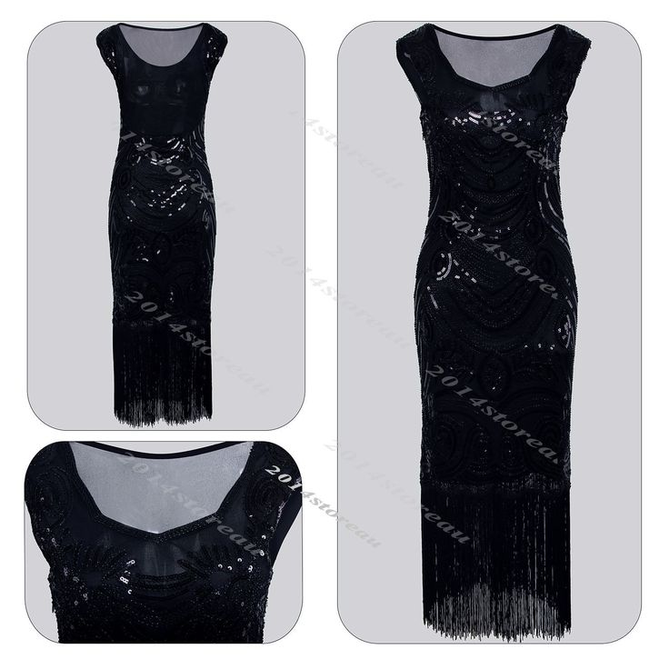 Vintage 1920S Flapper Dress Great Gatsby Charleston Costume Sequin Tassel Party