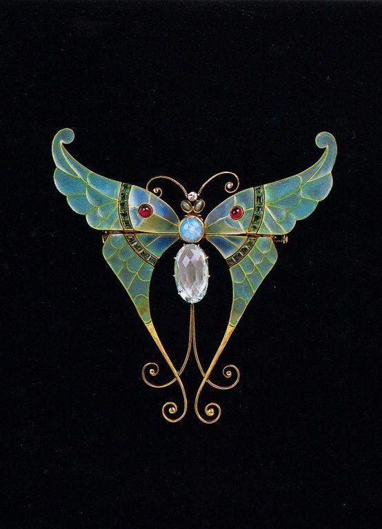 Boucheron Brooch 1900, gold, pliqu-a-jour enamel, aquamarine, rubies, opal, chrysoberyls