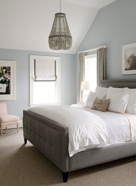 The soft blue paired with brown and white neutrals create a relaxing atmosphere in this bedroom. (Headboard! The color & Style! Love the wall color, maybe for bathroom?)