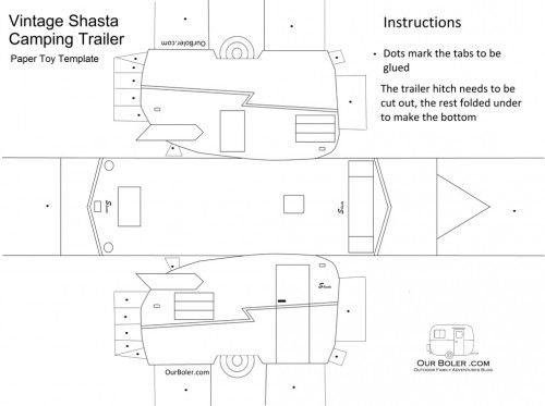paper shasta trailer toy template