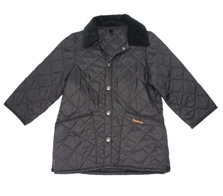 Barbour Liddesdale black diamond quilt coat jacket child unisex XS Age 4/5 boy…