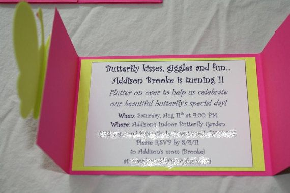 Butterfly Birthday Invitation Detailed by RandRcreation on Etsy