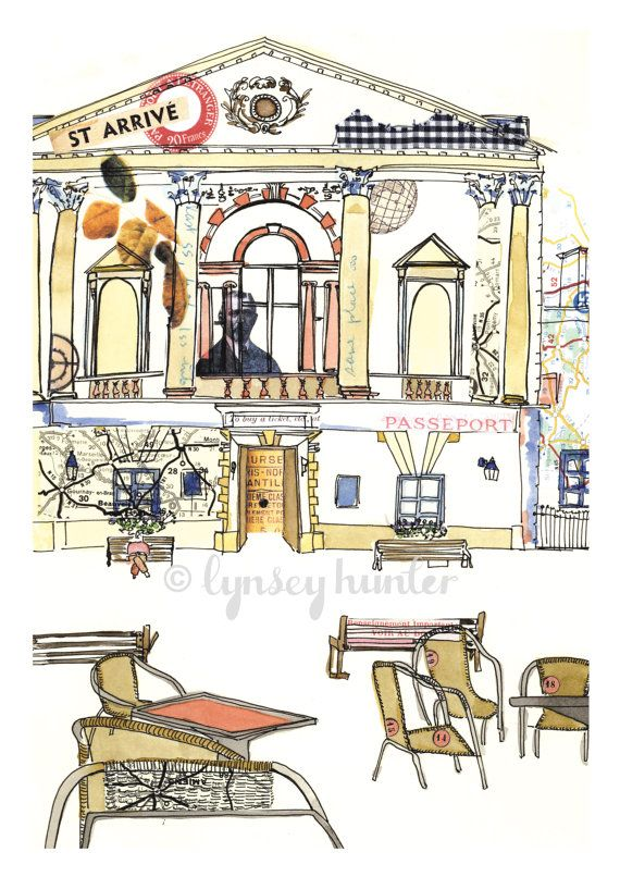 Bath, England - Ink, watercolour and collage illustration