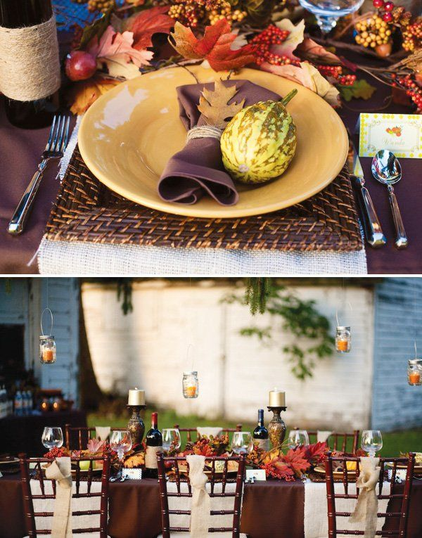 Rustic Outdoor Thanksgiving Dinner with seasonal gourds, twine wrapped napkins
