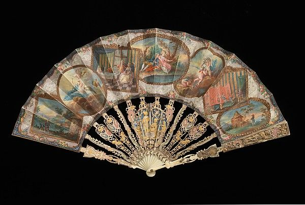 Fan of ivory, paper, gouache paint, metal and mother of pearl sticks.  ca. 1745-55