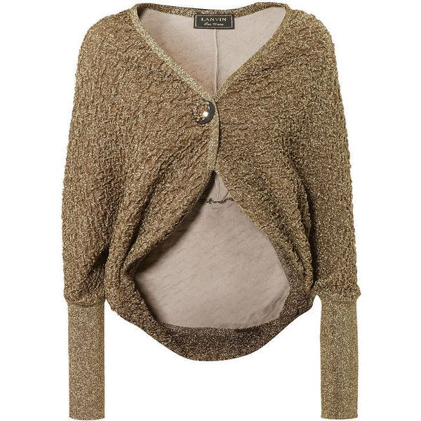 Bolero-Cardigan mit Schmuckschließe Gold ($1,480) ❤ liked on Polyvore featuring tops, cardigans, outerwear, casaco, brown cardigan, gold top, brown tops, cardigan top and gold cardigan